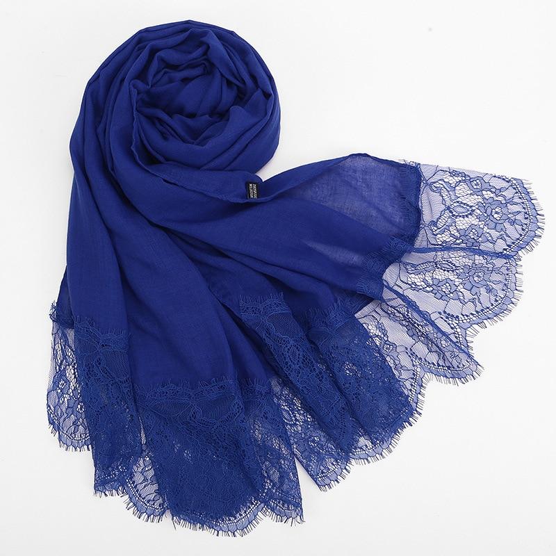 Fashion Lace Muslim Dress Monochrome Cotton Sack Scarf Hijab Turban Femme Headscarf