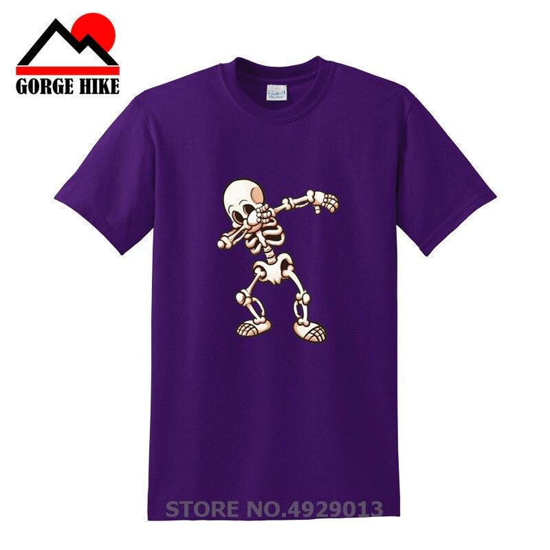 Halloween Gift Hip Hop Dabbing Skeleton Mens T-Shirt Ahriman Tee Shirts Men Funny Skull Punk tshirts Black Friday Short Sleeves