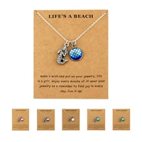 Beach Jewelry Sand Dollar Fish Scale Seahorse Octopus Turtle Starfish Seashells Whale Wave Mermaids Necklaces for Women