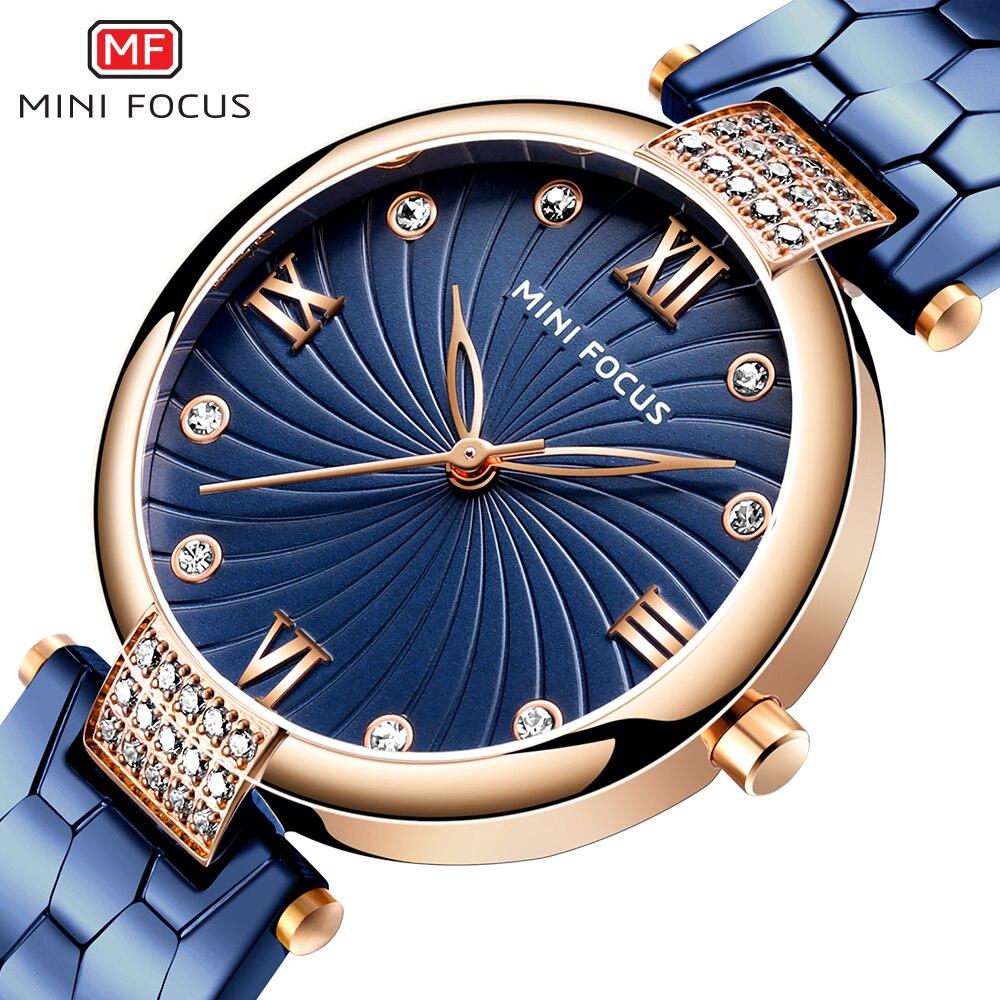 MINIFOCUS relojes de mujer superior de la marca de lujo de impermeable de señoras reloj de oro vestido de chica-reloj Relogio femenino