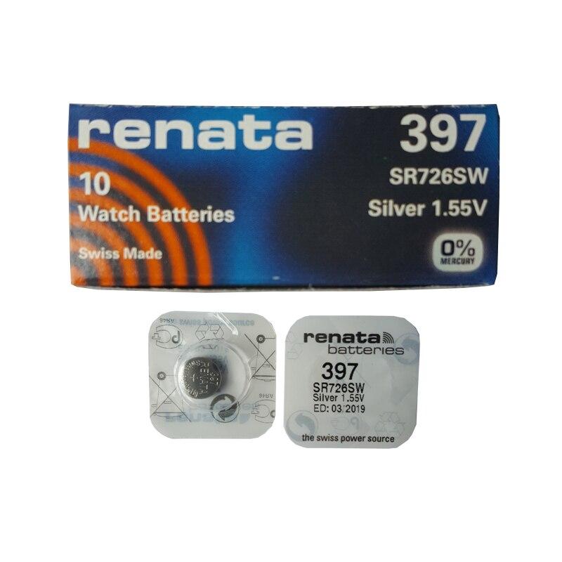 RENATA 5pcs Silver Oxide Watch Battery 397 SR726SW 726 1.55V 397 Renata 726 Batteries