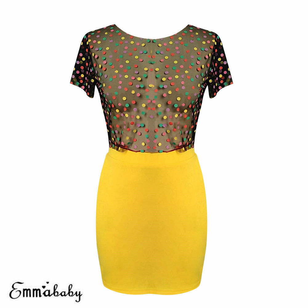 Women Outfits Ladies Sheer Mesh Fishnet Long Sleeve See Through Crop Top+Mini Skirt Set
