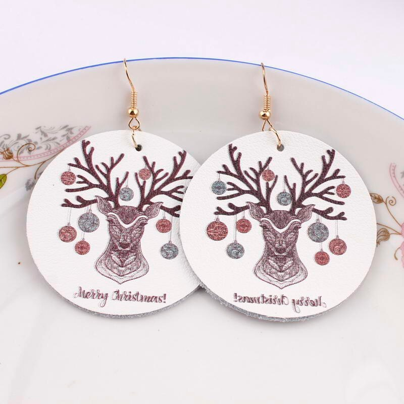 Weihnachts-pendientes llamativos de gota de cuero genuino para mujer, Feliz Navidad Regalo...
