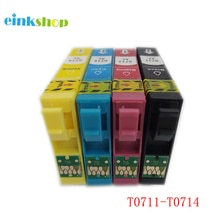Einkshop T0711-T0714 cartouches dencre pour Epson stylet SX210 SX215 SX218 SX115 SX405 SX410 SX415 SX605 D78 DX4000 imprimante