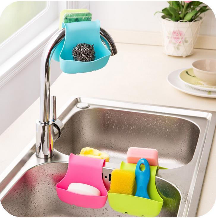Urijk Kitchen Supplies Silicone Multifunctional Space Save Organizer Hollow Drain Basket Kitchen Sundries Storage Holder