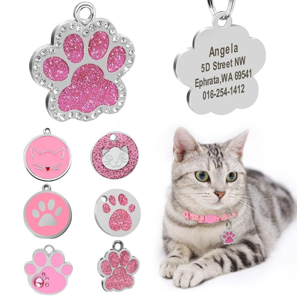 Заказная идентификационная бирка для кошек именная бирка для кошек кулон воротник гравировка котов котенок имя пластина аксессуары лапа Круглый Блестящий розовый