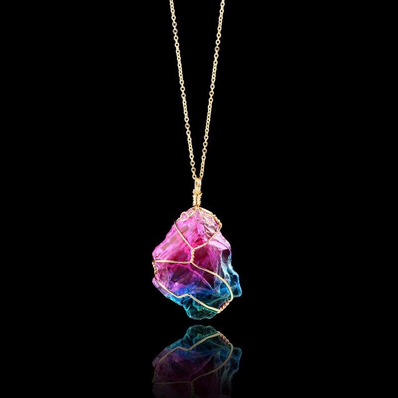 Bunte Gestreifte Fluorit Quarz Kristall Stein Kristall Natürliche Fluorit Stein Anhänger Halskette Hängen Dekor Hause Dekoration