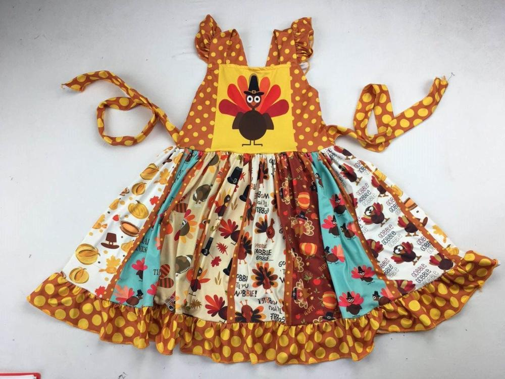 2019 turkey printed twirl dress thanksgiving happy day girl holiday dress 88