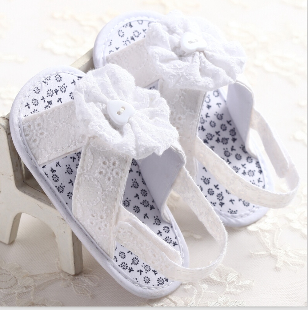 Sandalias de verano para niñas recién nacidas, suela suave de algodón con flores, zapatos de princesa para cuna, sandalias azules y blancas rosas