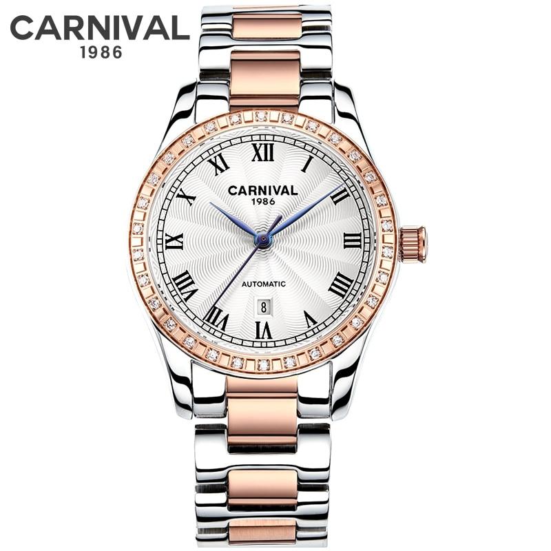 2019 New Rose Gold Women Watch Business Automatic Mechanical Watch Ladies Top Brand Luxury Female Wrist Watch Girl Clock Relogio
