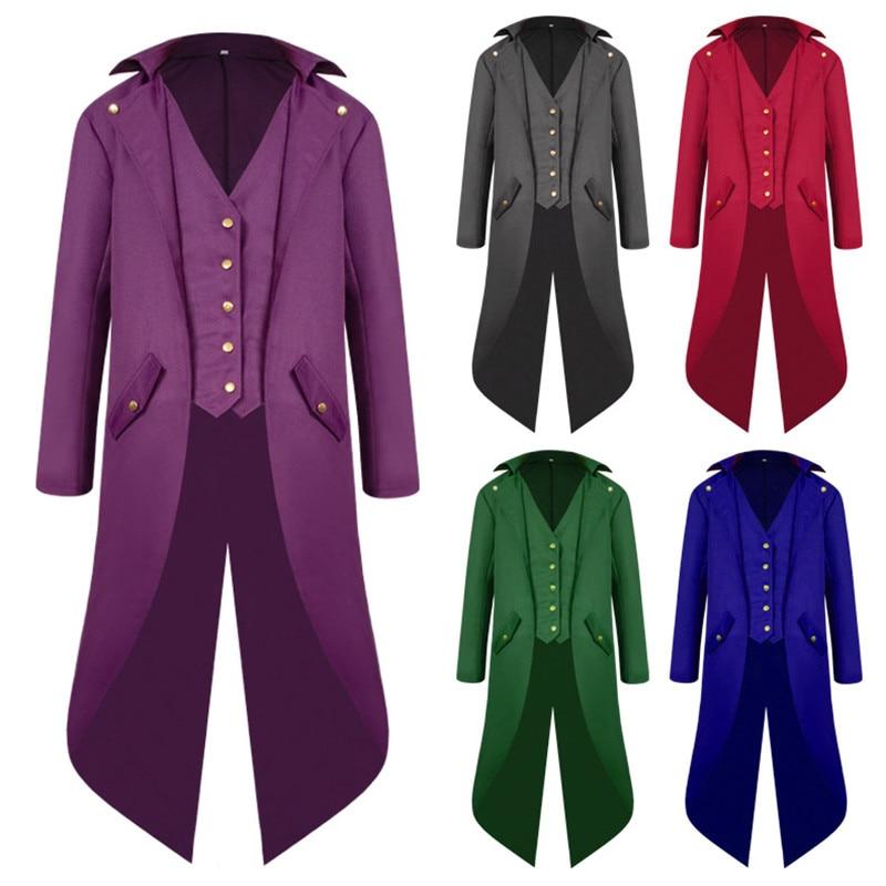2018 nuevo traje Steampunk para hombres Vintage chaqueta FRAC gótico victoriano Frock negro Steampunk abrigo