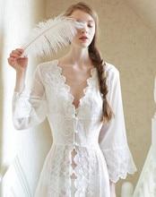 Sleepwear Sexy Long Nightwear White Lace Vintage Princess Dress Medieval Nightgown European-style Palace Robe Beautiful Vestidos