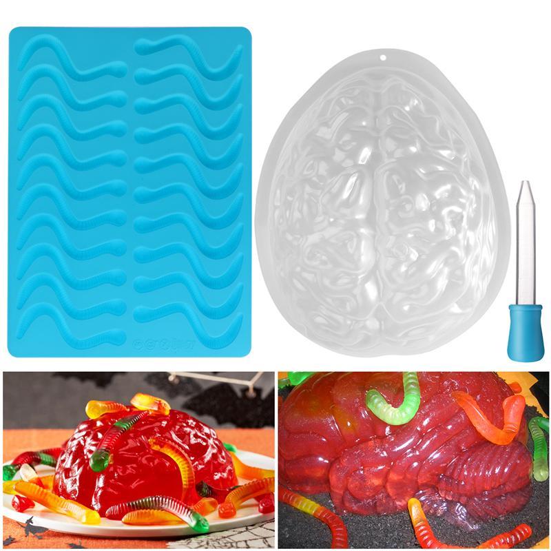 1 Juego de moldes para el cerebro de Halloween molde de gusano 3D no tóxico Durable Yummy silicona Spooky Props para postres de pudín de Halloween