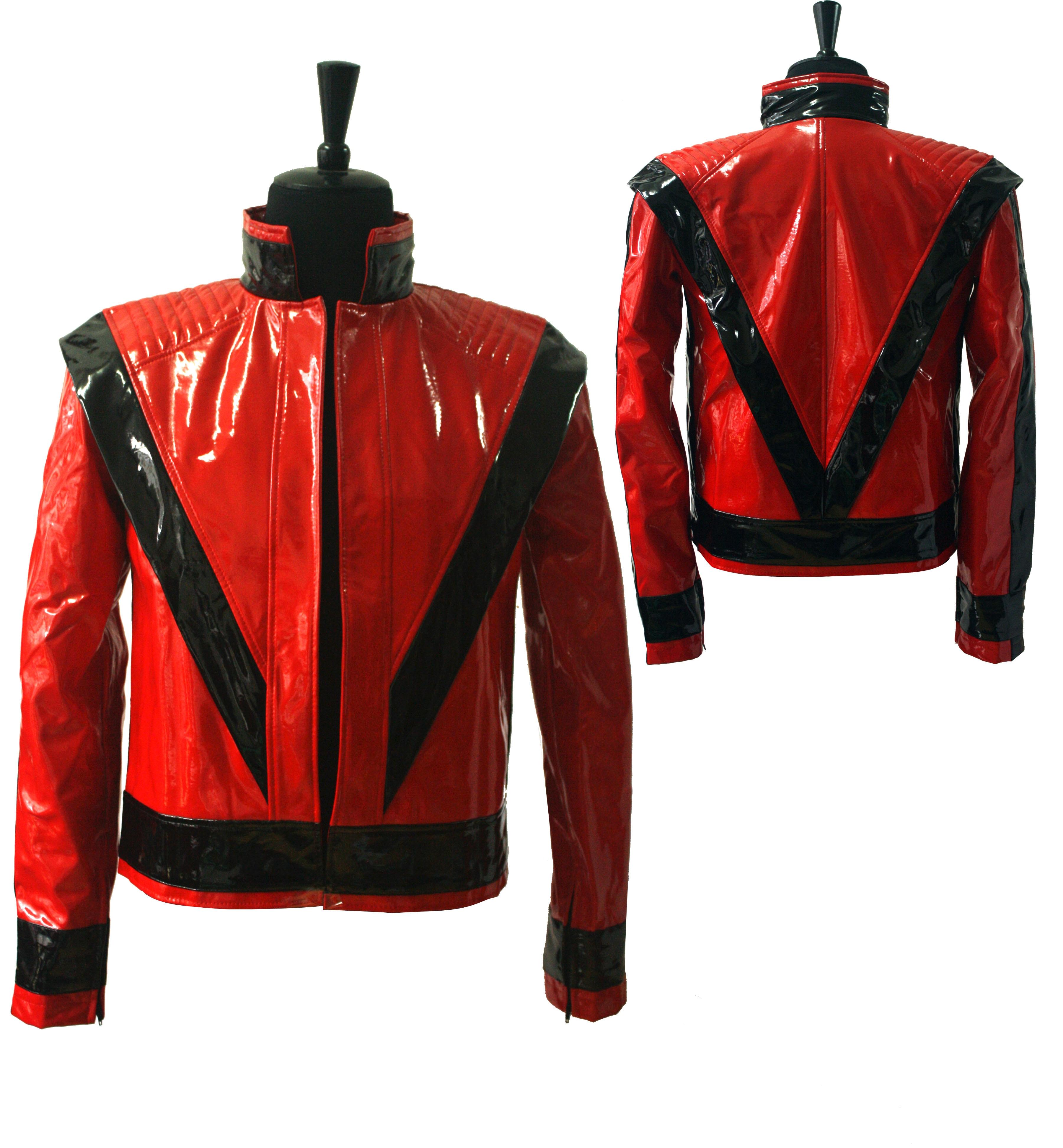 Raro MJ Michael Jackson, piel sintética roja, chaqueta Thriller, prendas de vestir PUNK ajustadas, Estilo de motocicleta