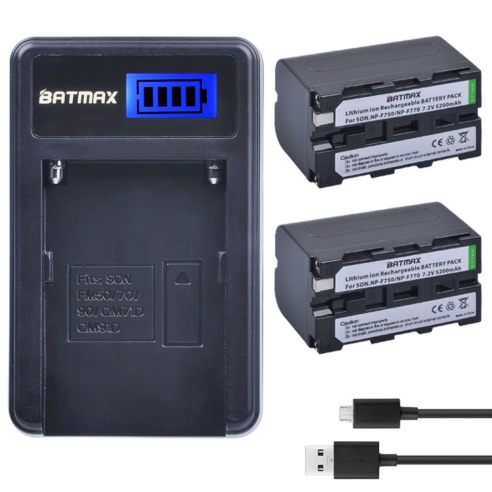 2 шт. 5200 мАч NP F750 NP F770 NP-F750 батарея Akku + LCD USB зарядное устройство для Sony NP F970 F960 F550 F570 QM91D CCD-RV100 TRU47E