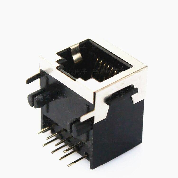 100 Uds RJ11 jack RJ12 hembra 90 grados horizontal de 6-core media concha enchufe con protector 56-6P6C