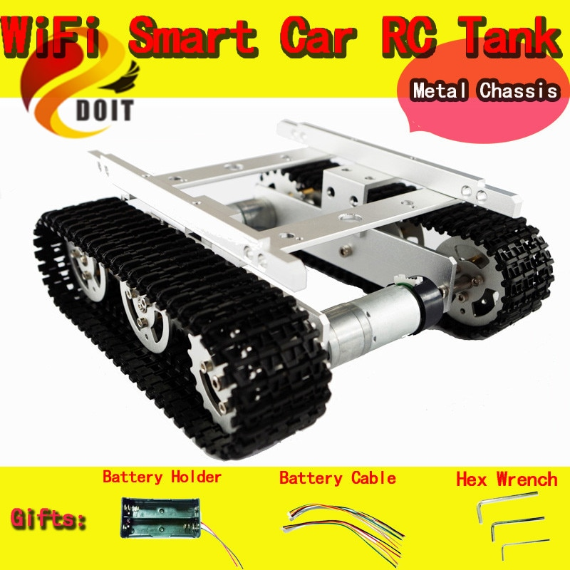 Oficial DOIT RC Metal Tank Caterpillar Tractor chasis Crawler Robot inteligente coche evitación de obstáculos DIY RC juguete remoto