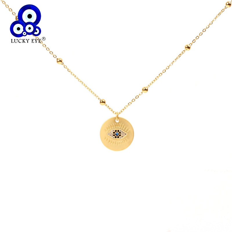 Lucky eye redondo pingente colar cor do ouro cobre longo corrente mau olho colar moda jóias presentes para as meninas le154
