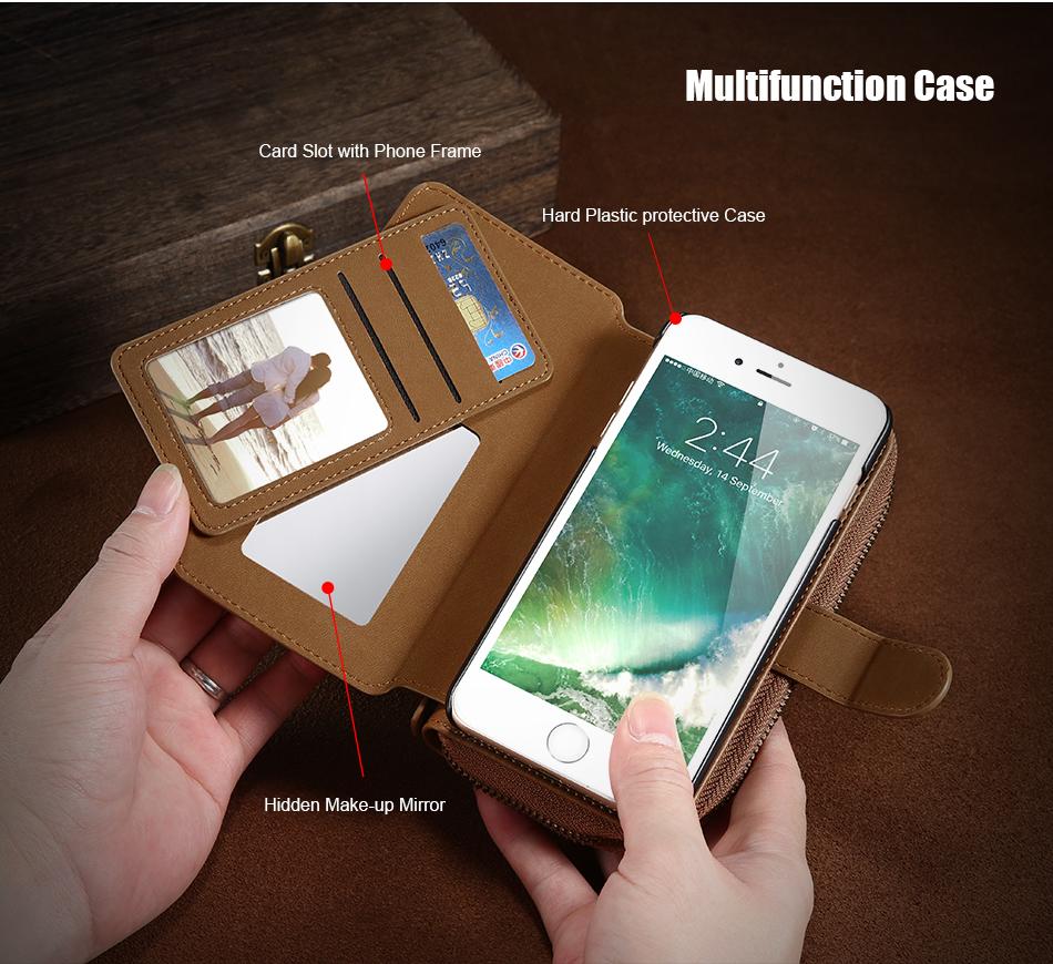 Floveme vintage leather wallet phone case for iphone 7 7 plus 6 6 s plus retro torebka slot kart pokrywa dla samsung s7 s8 coque 6