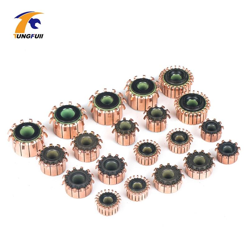 Alternador de varilla de cobre de 2 uds. De TUNGFULL, Colector de Motor de cobre con tonos de cobre, Colector de Motor de latón con Microperforación para marcha atrás de armadura