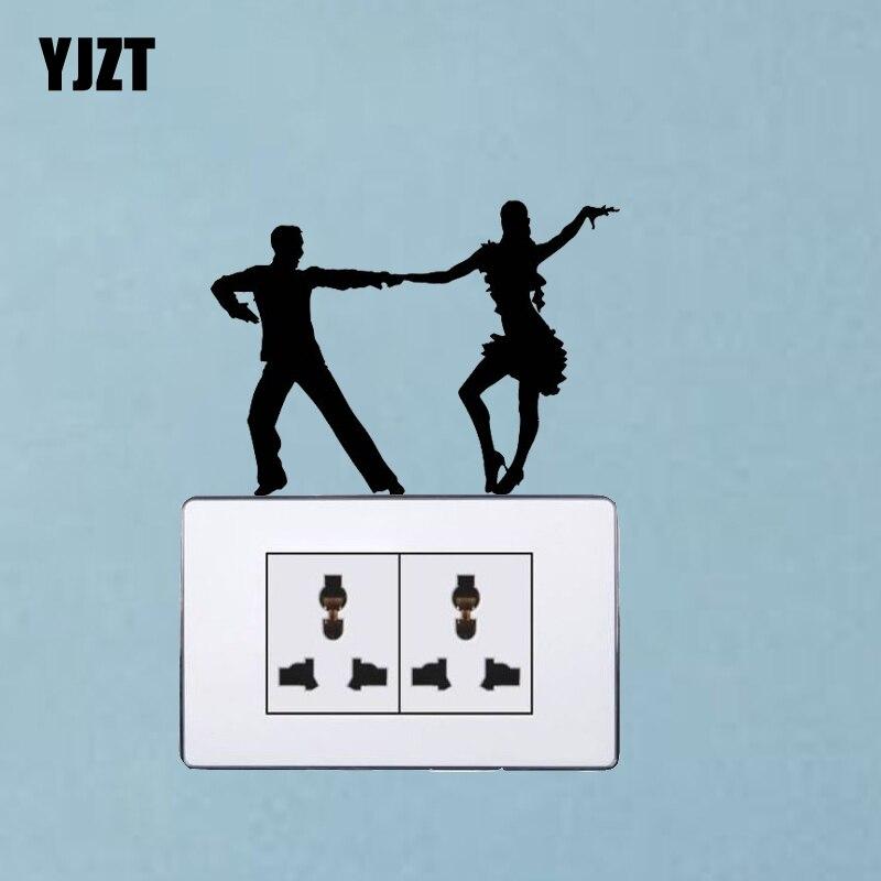 La mejor pegatina para interruptor de vinilo, pegatinas de pared de la habitación del hogar negro 7SS0189 de baile latino