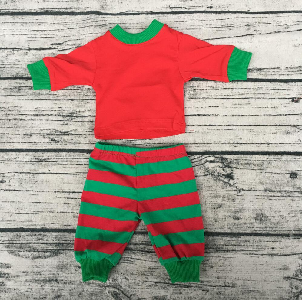 Christmas fashionable children red green shirts match red green stripe pant pajamas suits