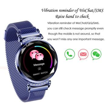 H2 Smart Watch Women Fashion Menstruation 3D Diamond Glass Heart Rate Blood Pressure Sleep Monitoring IP67 Waterproof Smartwatch