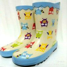 Bottes de pluie antidérapantes pour enfants   Caoutchouc imprimé, motif dessin animé chouette voitures, mollet moyen, sans lacet