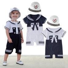 Ensemble de vêtements pour bébé garçon   Barboteuse et Bebes, combinaison de marin à manches courtes, Costume de bébé garçon de la marine, barboteuse + chapeau