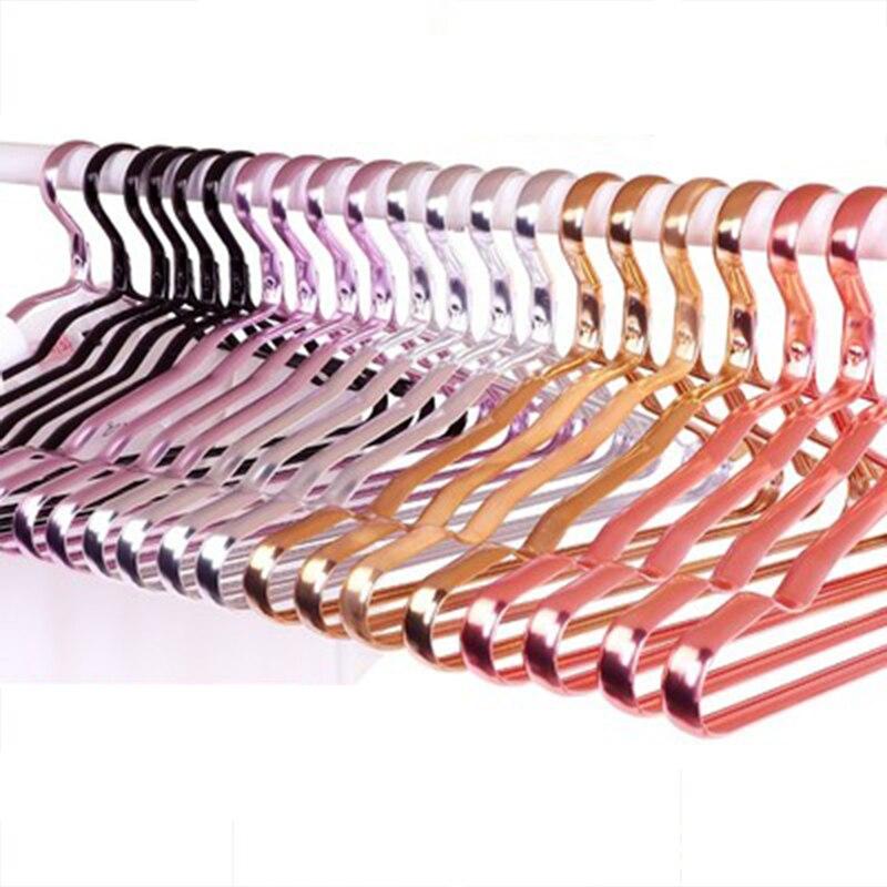Liga de Alumínio sem Costura Roupas de Metal Cabide de Aço Rack de Secagem de Roupas Lote Centímetros Cabides Anti-skid Inoxidável 10 Pçs – 41