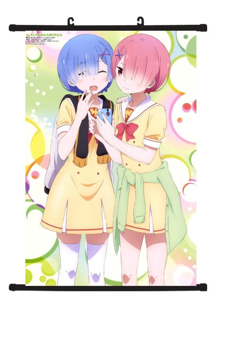 Anime Wall Scroll Poster Re Zero kara Hajimeru Isekai Rem Ram Kawaii Home Decor G