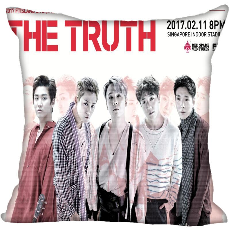 Korea-Pop FTISLAND Printing Square silk Satin Pillowcases 35x35cm,40x40cm One Side Printed Customize your image gift