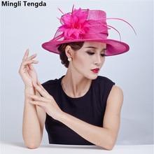Elegant Lady Philippines Natural Hemp Cap Wedding Headdress Bridal Hat Mingli Tengda Bibi Mariage Wedding Hat Bride Hats Feather