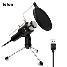 Lefon Professionelle Mikrofon Kondensator für Computer Laptop PC USB Stecker Stehen Studio Podcasting Aufnahme Microfone Karaoke Mic