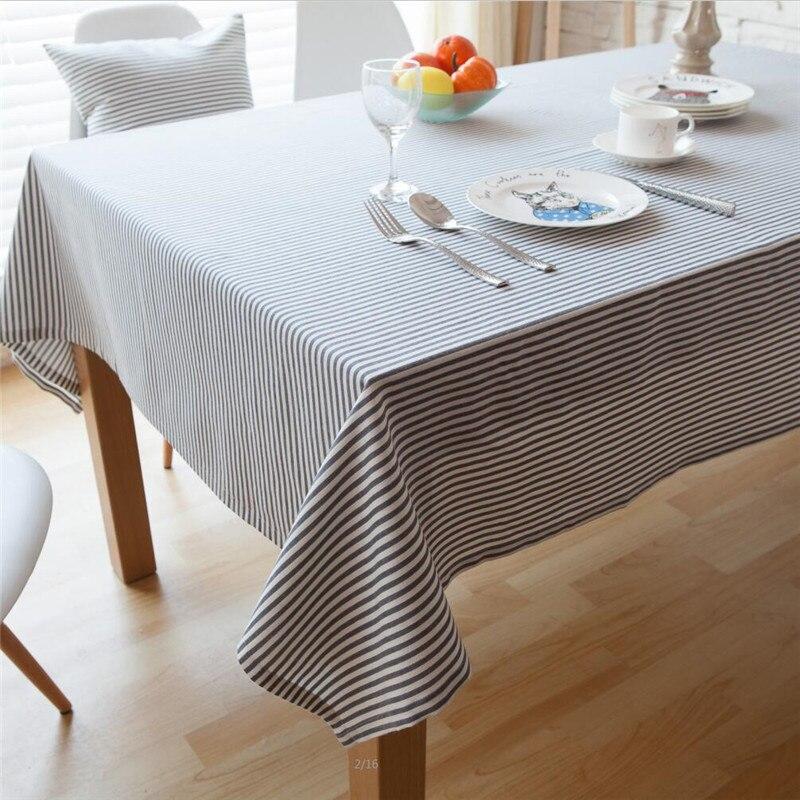 Mantel a rayas Tricolor de algodón Lino cena raya mantel Japón y Corea del Sur impermeable a prueba de aceite mantel