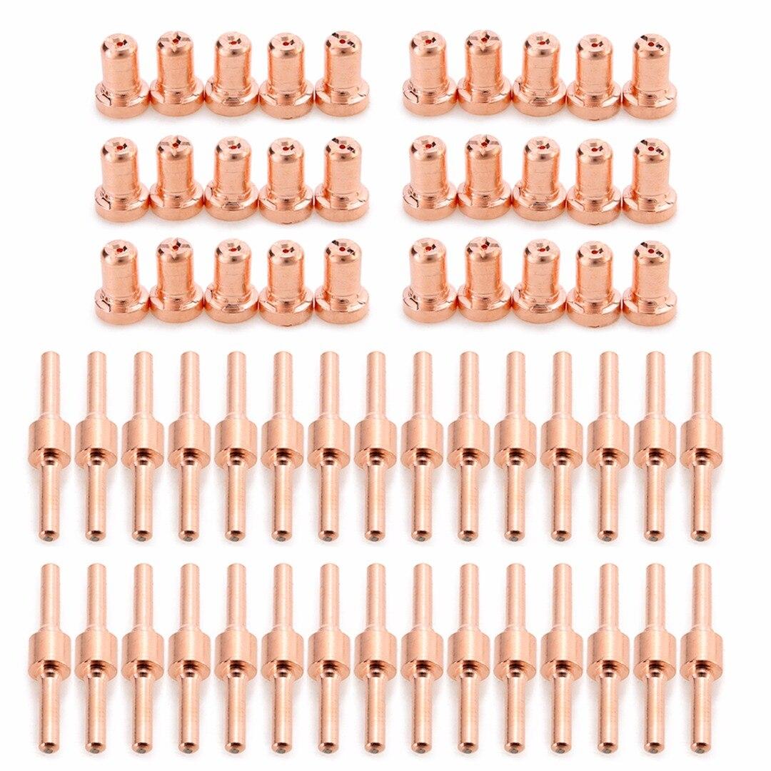 Kit de Cortador de Plasma por aire de 60 uds. De electrodo de Punta largo extendido de cobre rojo y boquillas consumibles para antorcha de corte PT31 LG40 40A Mayitr