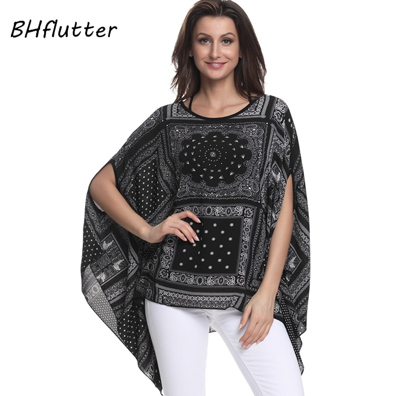 BHflutter Women Blouses 2018 New Print Chiffon Blouse Shirt Batwing Sleeve Casual Loose Boho Summer Tops Tees Plus Size 4XL 6XL