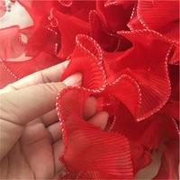 5 yards red organza lace fabric ruffled lace trim ribbons pleated lace handmade garment accessories 4 5cm wide