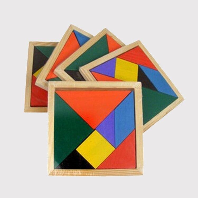 Пазлы деревянные Tangram 7 шт., игрушки для детей, Обучающие Развивающие цветные квадратные кубики, игрушки интеллектуальные