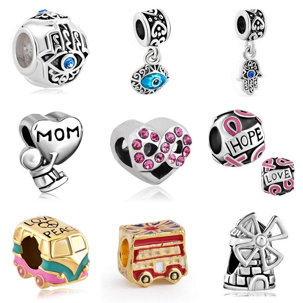 ¡Novedad! Colgante de ojo malvado con diseño de autobús europeo, abalorios infinitos para pulseras Pandora, collar, accesorios DIY