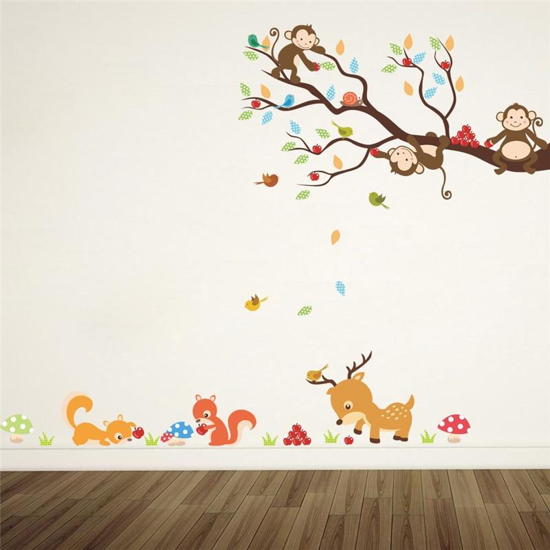 De dibujos animados bosque con árboles animal venado, ardilla pegatinas de pared para habitaciones de niños los niños pared del dormitorio etiqueta casa decoración mural