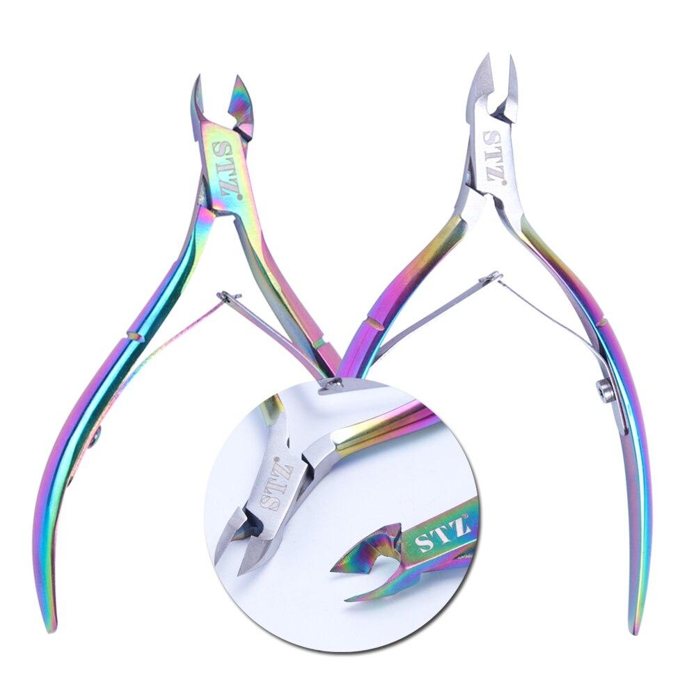 2 uds pinza para cutícula de uñas Arco Iris recortadora cortaúñas de acero inoxidable tijera producto para eliminar la piel muerta cortador manicura herramienta de Arte de uñas BEC1-2