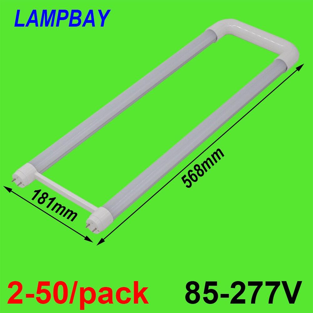 2-50/pack U shaped LED Tube Light 2ft 20W T8 G13 Bi-pin Retrofit Bulb Fluorescent Lamp work into exist fixture 110V-277V