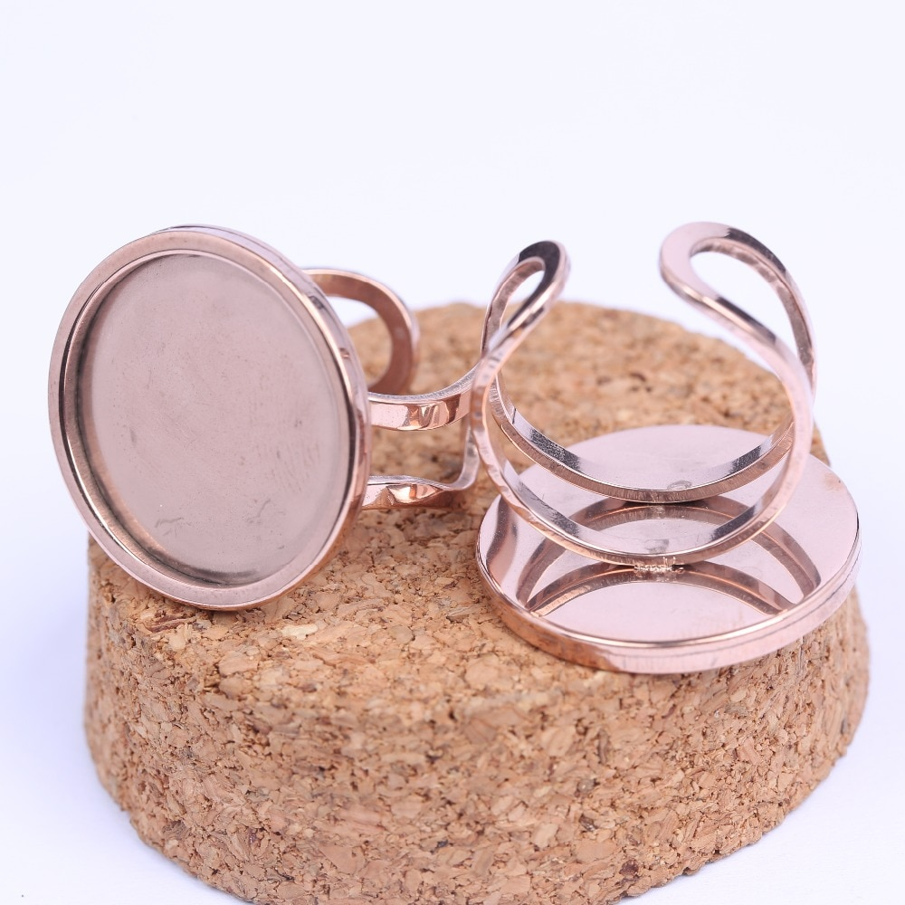 Onwear 5 uds. Anillo de cabujón de 20mm chapado en oro rosa de acero inoxidable, ajustes de base diy, bisel en blanco para la fabricación de joyería de anillos