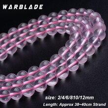 AAAAAAA piedras naturales 7A cuentas transparentes de cristal de hielo redondas de cuarzo rosa cuentas sueltas 6 8mm 10mm para hacer joyas de pulsera DIY