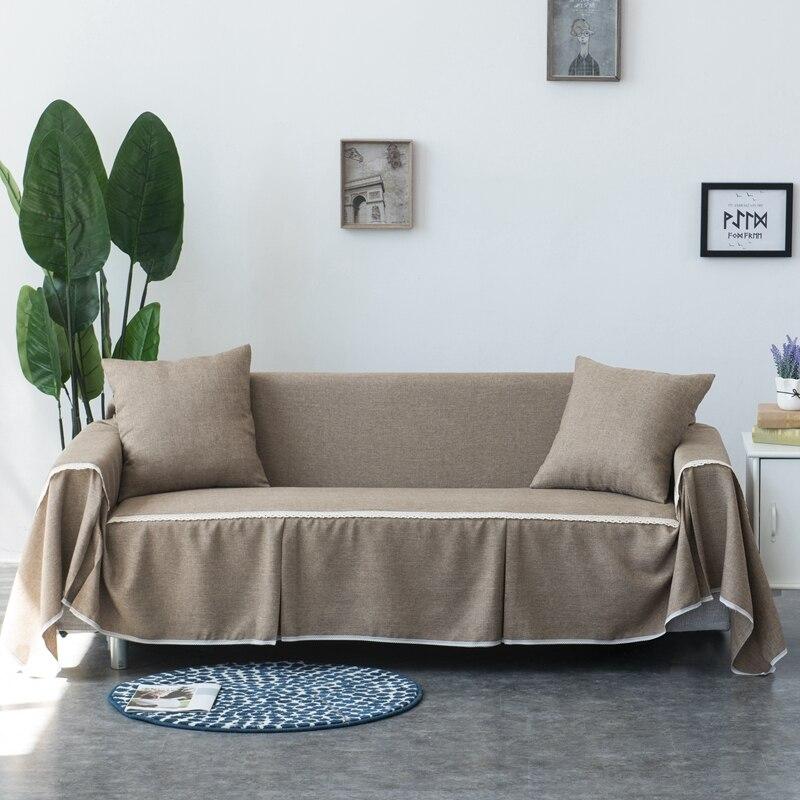 Funda de sofá de tela de Color liso, toalla Universal de sofá para sala de estar, fundas elásticas, funda de sofá envolvente, decoración del hogar
