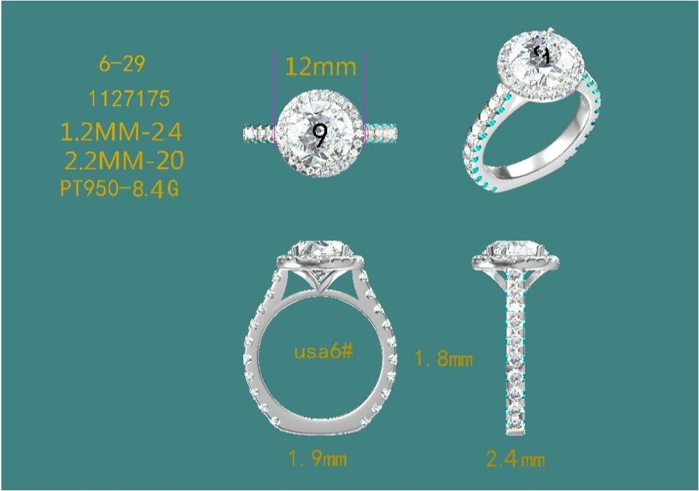 2 unids/pack platino anillo de compromiso y boda banda