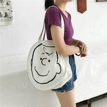 Japan Harajuku Cartoon Shoulder Bag Satchel Simple Pattern Single Shoulder Canvas Bag Student Character Messenger Bag Female