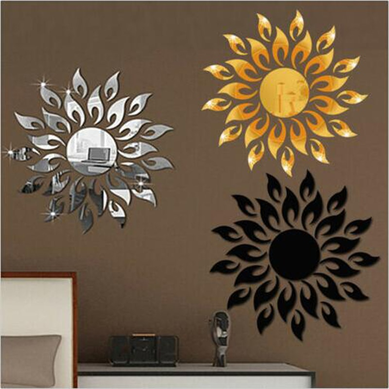 Adhesivo de pared plateado para habitación, adhesivo DIY para la pared del hogar, armario de TV, decoración artística para techo, forma de espejo extraíble, Sol moderno