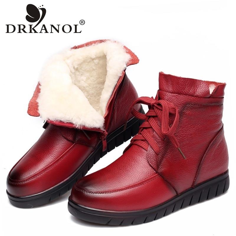 DRKANOL 2021 النساء الثلوج الأحذية خمر جلد طبيعي الصوف الطبيعي الفراء شتاء دافئ حذاء من الجلد للنساء حذاء للأمهات المسطحة H7075